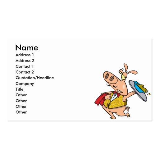 desenhos animados do garçom do slop do porco do se cartão de visita