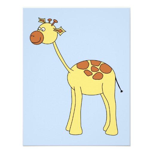 Desenhos animados do girafa convite personalizado