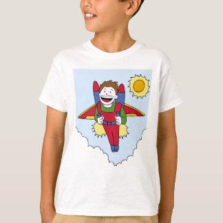 Desenhos animados do homem do bloco do jato do vôo camiseta