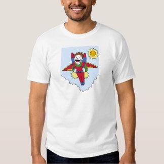 Desenhos animados do homem do bloco do jato do vôo camisetas