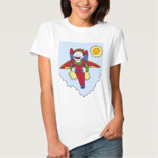 Desenhos animados do homem do bloco do jato do vôo t-shirts