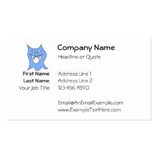 Desenhos animados do monstro no azul cartão de visita