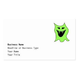 Desenhos animados do monstro. Verde e preto Cartão De Visita