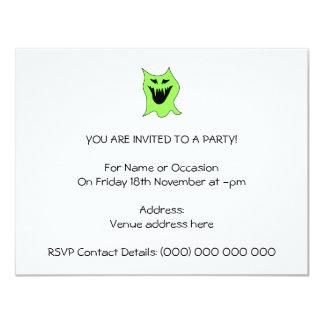 Desenhos animados do monstro. Verde e preto Convite 10.79 X 13.97cm