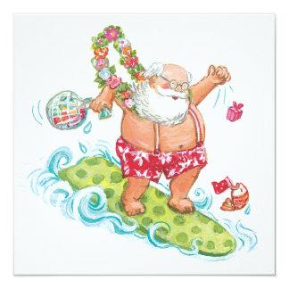 Desenhos animados do natal vintage que surfam convite quadrado 13.35 x 13.35cm