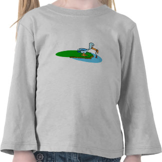 Desenhos animados do pássaro da pesca camisetas