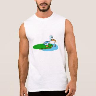 Desenhos animados do pássaro da pesca camisa sem mangas