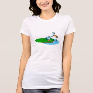 Desenhos animados do pássaro da pesca t-shirt
