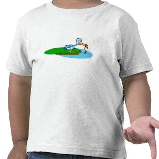 Desenhos animados do pássaro da pesca t-shirts