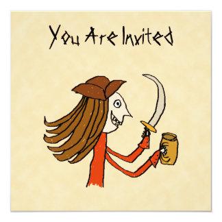 Desenhos animados do pirata convite quadrado 13.35 x 13.35cm