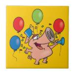 desenhos animados do porco do partido da celebraçã azulejos de cerâmica