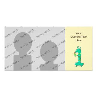 Desenhos animados do primeiro aniversario. Verde Cartão Com Foto