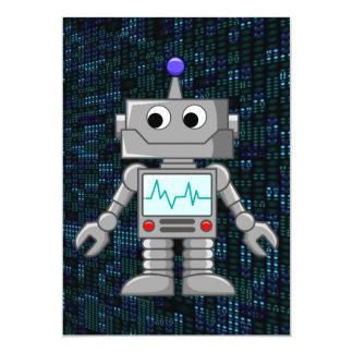 desenhos animados do robô convite 12.7 x 17.78cm