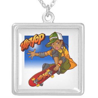 Desenhos animados do skate da menina de Hip Hop Colar Com Pendente Quadrado