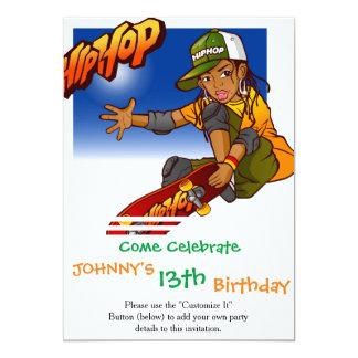 Desenhos animados do skate da menina de Hip Hop Convite 12.7 X 17.78cm