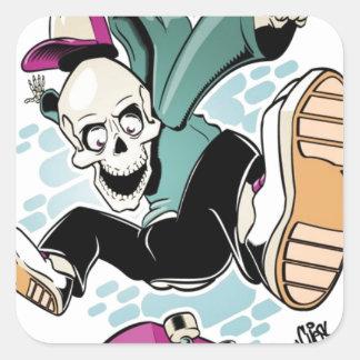 desenhos animados do skate do crânio adesivos quadrados