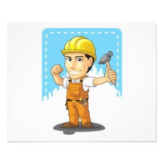 Desenhos animados do trabalhador da construção ind modelos de panfleto