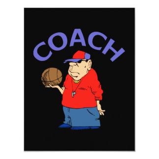 Desenhos animados do treinador de beisebol convite 10.79 x 13.97cm