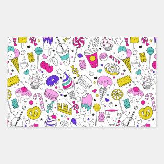 Desenhos animados doces do esboço do arco-íris adesivo retangular