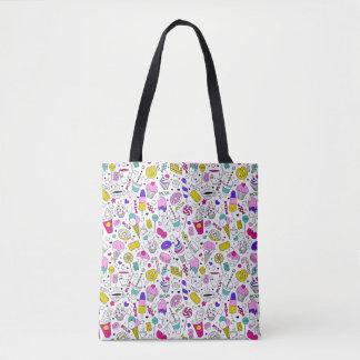 Desenhos animados doces do esboço do arco-íris bolsa tote