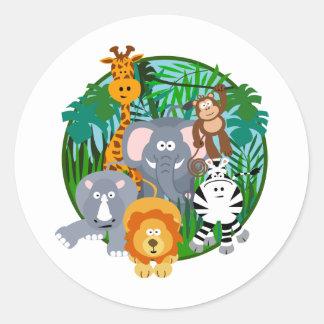 Desenhos animados dos animais do safari adesivo redondo