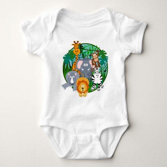 Desenhos animados dos animais do safari body para bebê