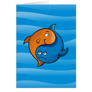Desenhos animados dos peixes de Yin Yang Cartão De Nota