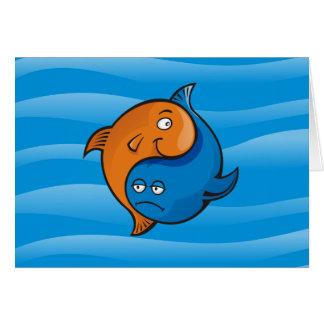 Desenhos animados dos peixes de Yin Yang Cartão Comemorativo