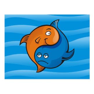 Desenhos animados dos peixes de Yin Yang Cartão Postal