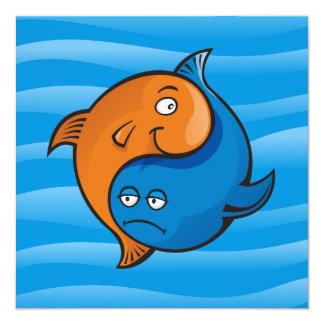 Desenhos animados dos peixes de Yin Yang Convites Personalizados