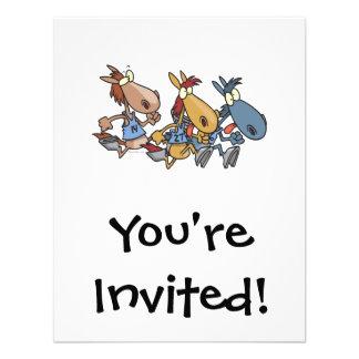 desenhos animados engraçados da corrida de cavalos convites personalizados