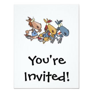 desenhos animados engraçados da corrida de cavalos convite 10.79 x 13.97cm