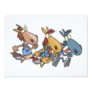 desenhos animados engraçados da corrida de cavalos convite 16.51 x 22.22cm