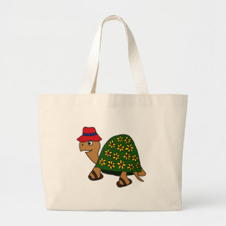 Desenhos animados engraçados da tartaruga da flor  bolsa de lona