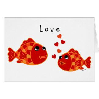 Desenhos animados engraçados do amor do peixe dour cartões