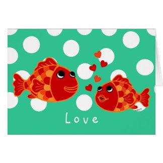 Desenhos animados engraçados do amor do peixe dour cartao