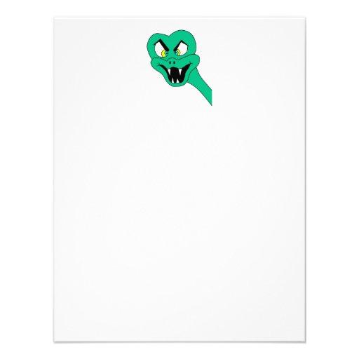 Desenhos animados engraçados do cobra convite personalizados