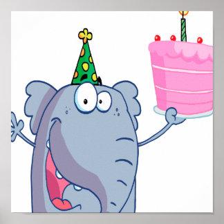 desenhos animados engraçados do elefante do feliz poster