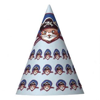 desenhos animados engraçados do gato do pirata chapéu de festa