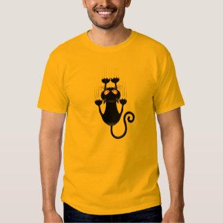Desenhos animados engraçados do gato preto que camiseta