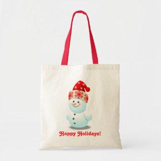 Desenhos animados engraçados do miúdo do boneco de sacola tote budget