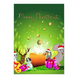 Desenhos animados engraçados do Natal Convite
