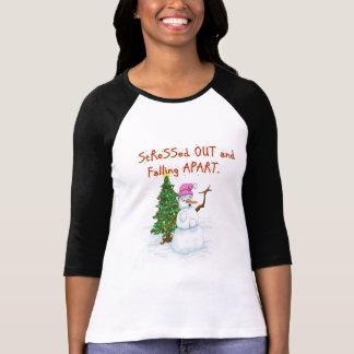 Desenhos animados engraçados do Natal do boneco de Camiseta