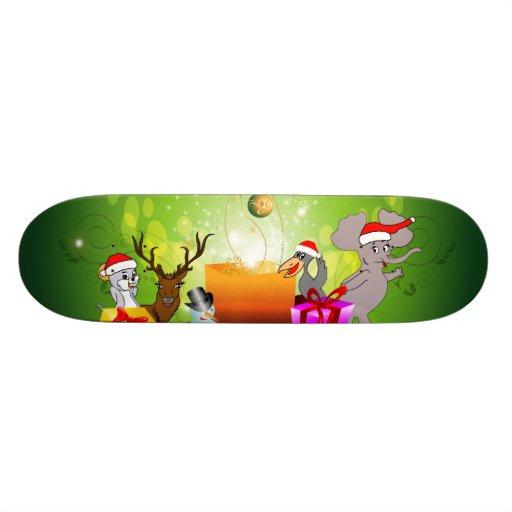 Desenhos animados engraçados do Natal Skateboard