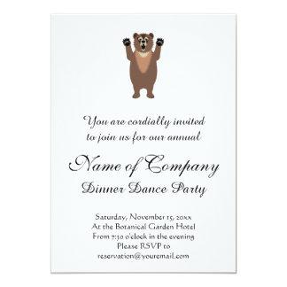 Desenhos animados engraçados do urso de urso convite 12.7 x 17.78cm
