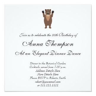 Desenhos animados engraçados do urso de urso convite quadrado 13.35 x 13.35cm