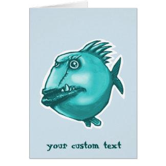 desenhos animados engraçados dos peixes feios cartão