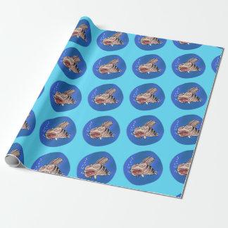 desenhos animados engraçados furados dos peixes papel de presente
