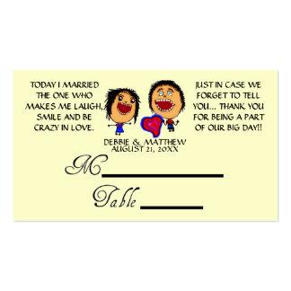 Desenhos animados engraçados que Wedding Placecard Cartão De Visita
