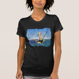 Desenhos animados estranhos da pesca do dia camisetas
